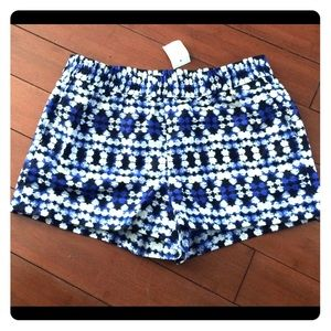 NWT J Crew Blue and White Patterned Shorts